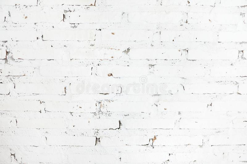 White painted brick wall texture background. Architecture, interior design concept. Scandinavian style. Text space royalty free stock photo