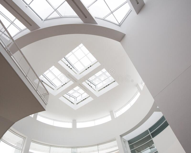 White Painted Ceiling With Glass Roof during Day Time royalty free stock photos