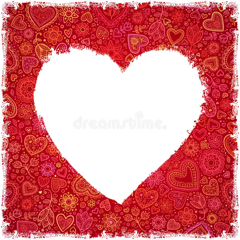 Download White Painted Heart On Red Ornate Background Stock Images - Image: 28755634