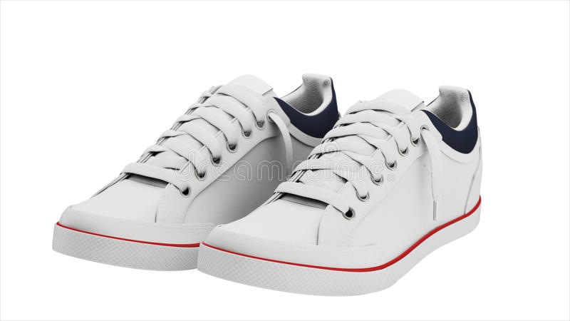 White pair of sport sneakers stock photography
