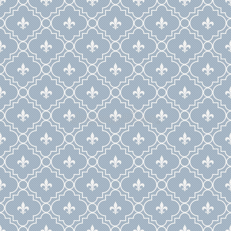 Download White And Pale Blue Fleur-De-Lis Pattern Textured Fabric Backgro Royalty Free Stock Images - Image: 36754469