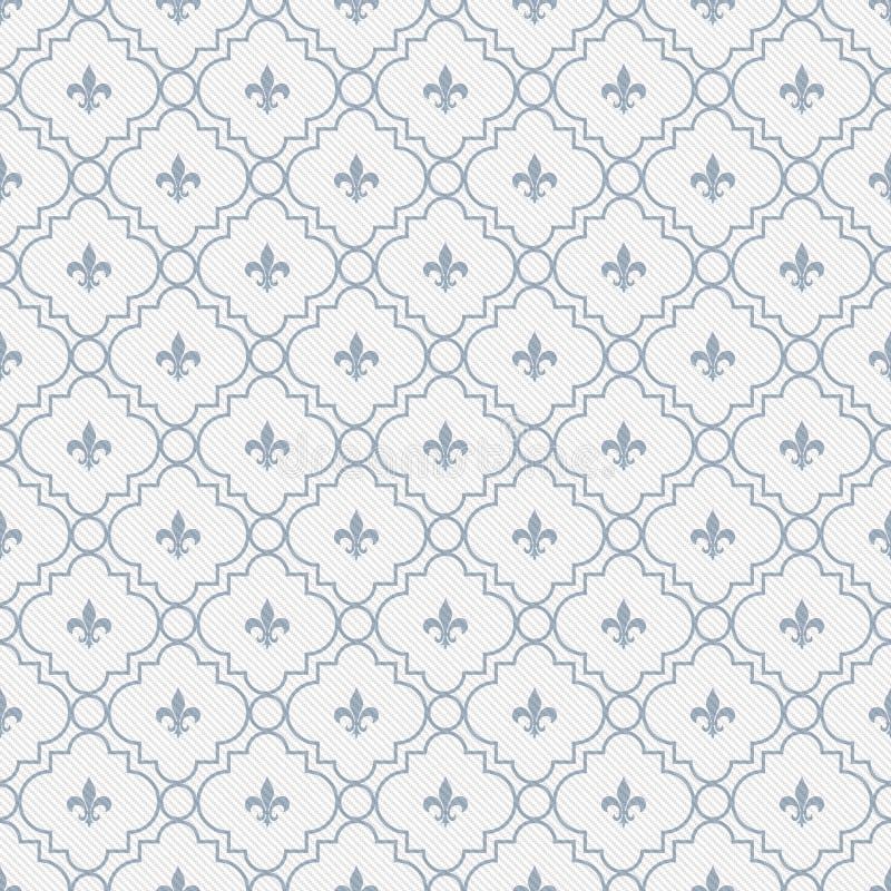 White and Pale Blue Fleur-De-Lis Pattern Textured Fabric Background vector illustration