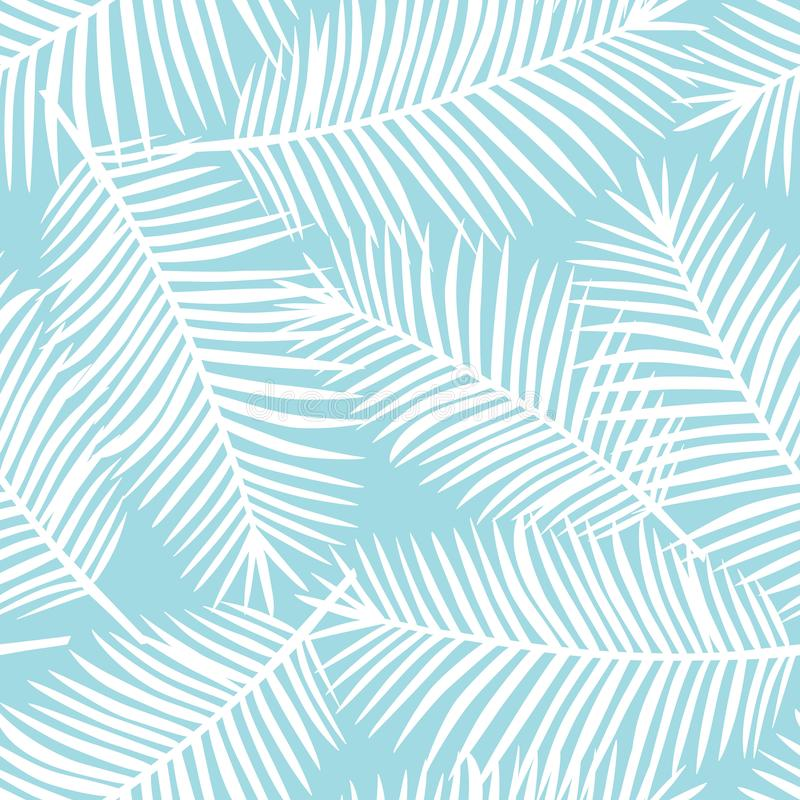 White palm leaves on a blue background exotic tropical hawaii se royalty free stock photography