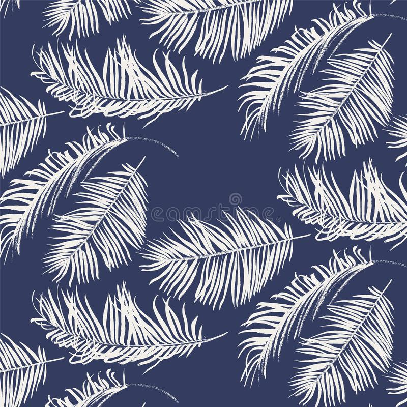 Blue and white palm leaves pattern royalty free illustration