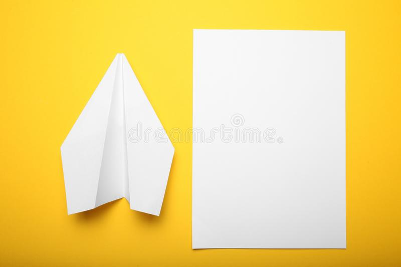 White paper airplane, aircraft concept.  stock images