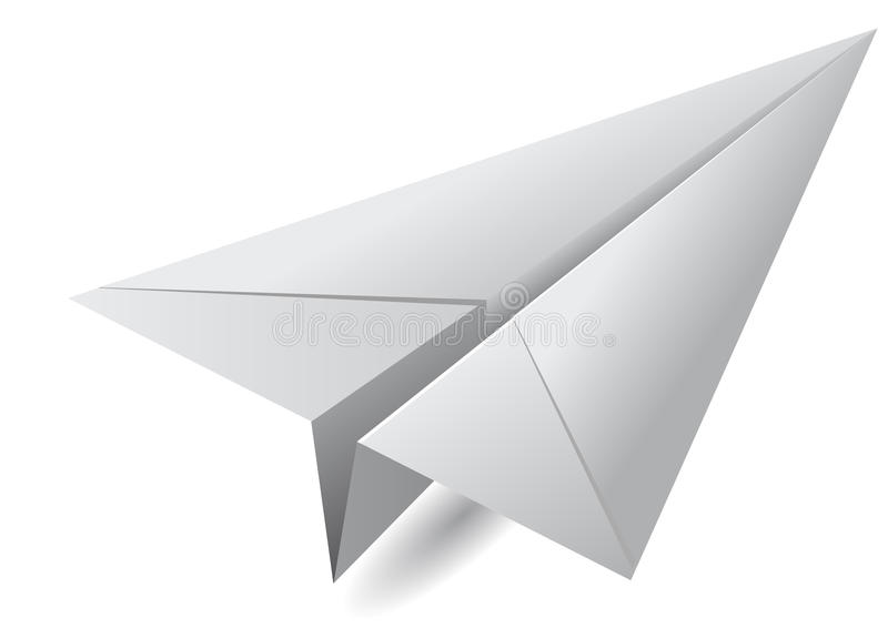 White paper airplane vector illustration