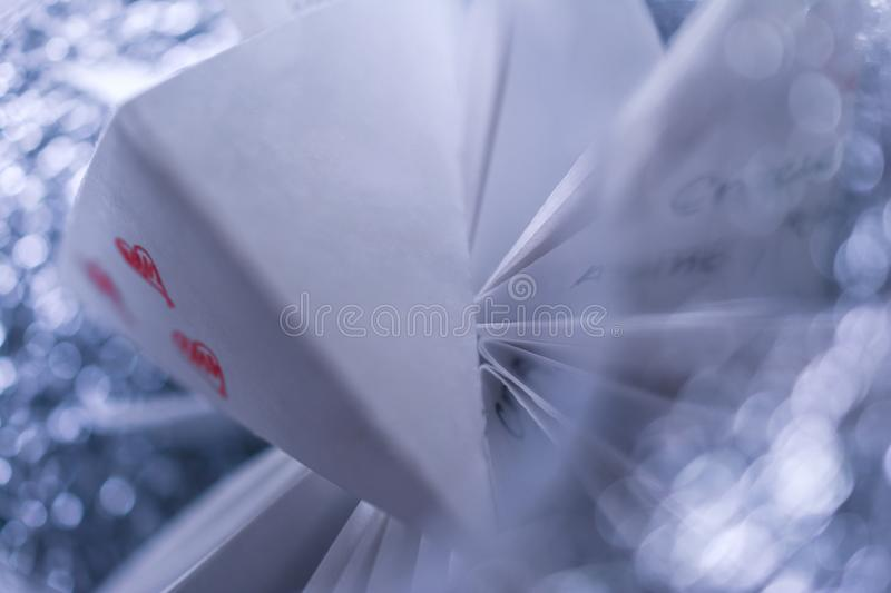 White paper airplane with love news.  stock photo