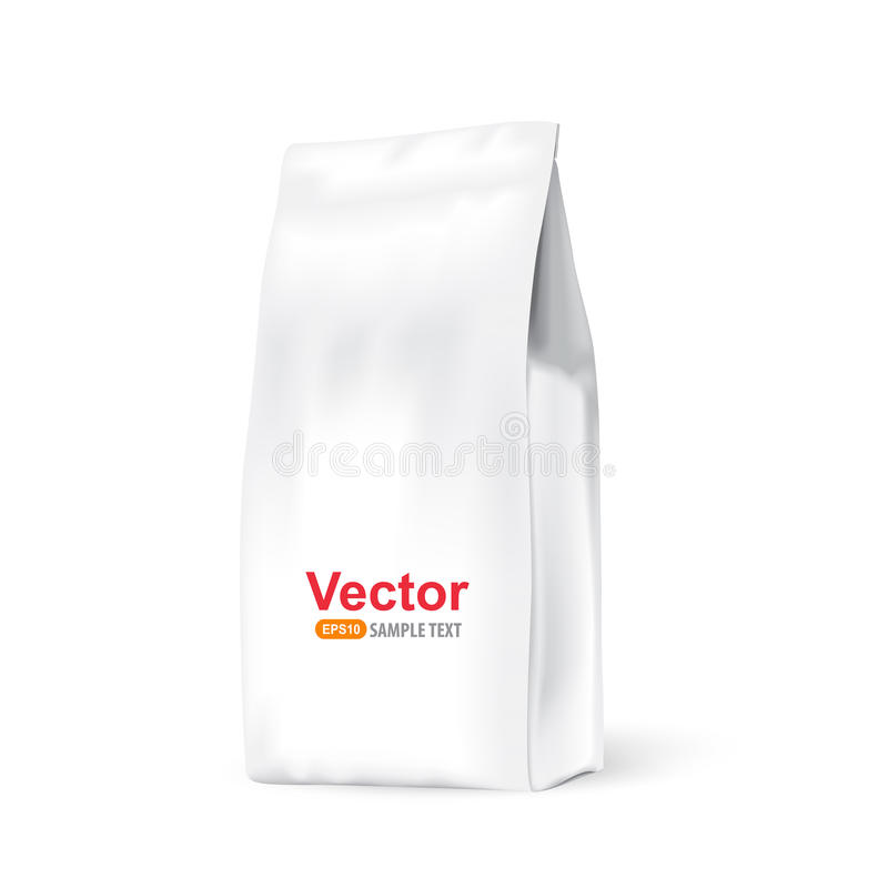 White paper bag for bulk products, tea, coffee stock illustration