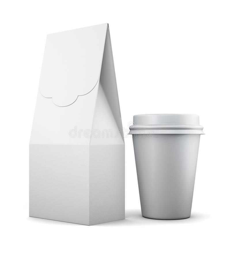 White paper bag and Cup for lunch on white background. 3d render. Ing royalty free illustration