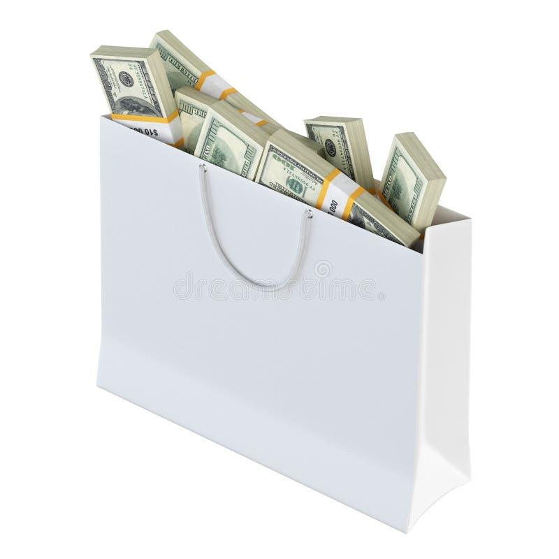 White Paper Bag Full Of Money Royalty Free Stock Image