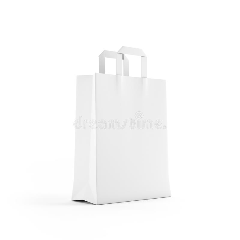 White paper bag isolated on white stock images