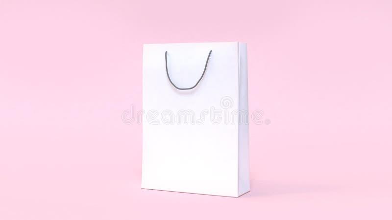 White paper bag mock up soft pink background minimal shopping concept stock illustration