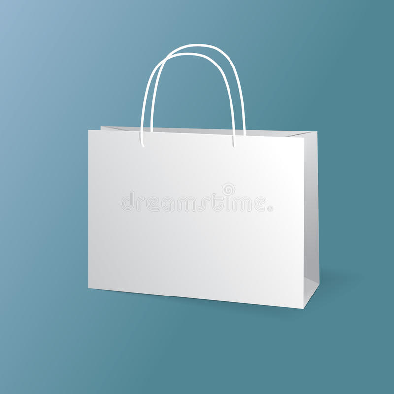 White paper bags set isolated on blue background. Vector vector illustration