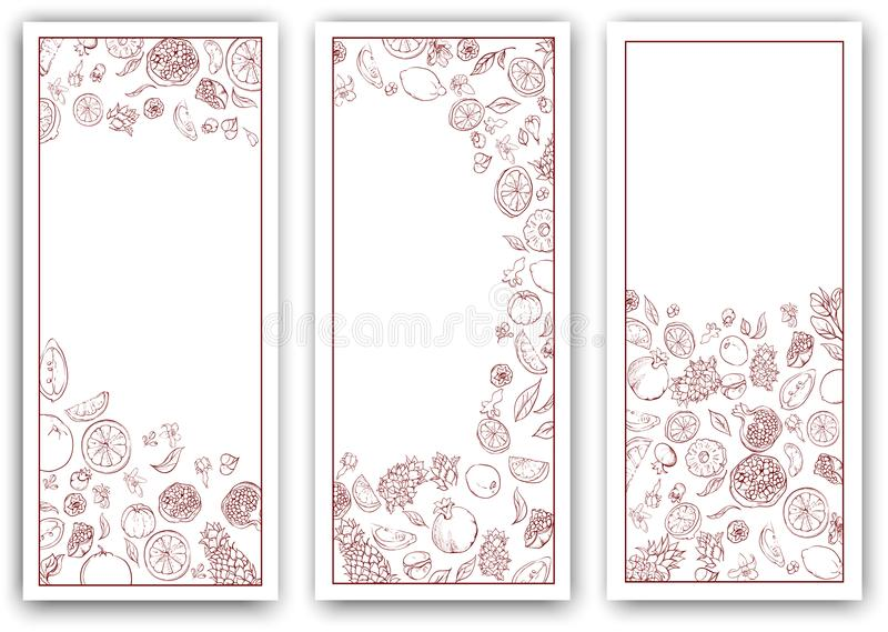 White paper banners with tropical fruits. royalty free illustration