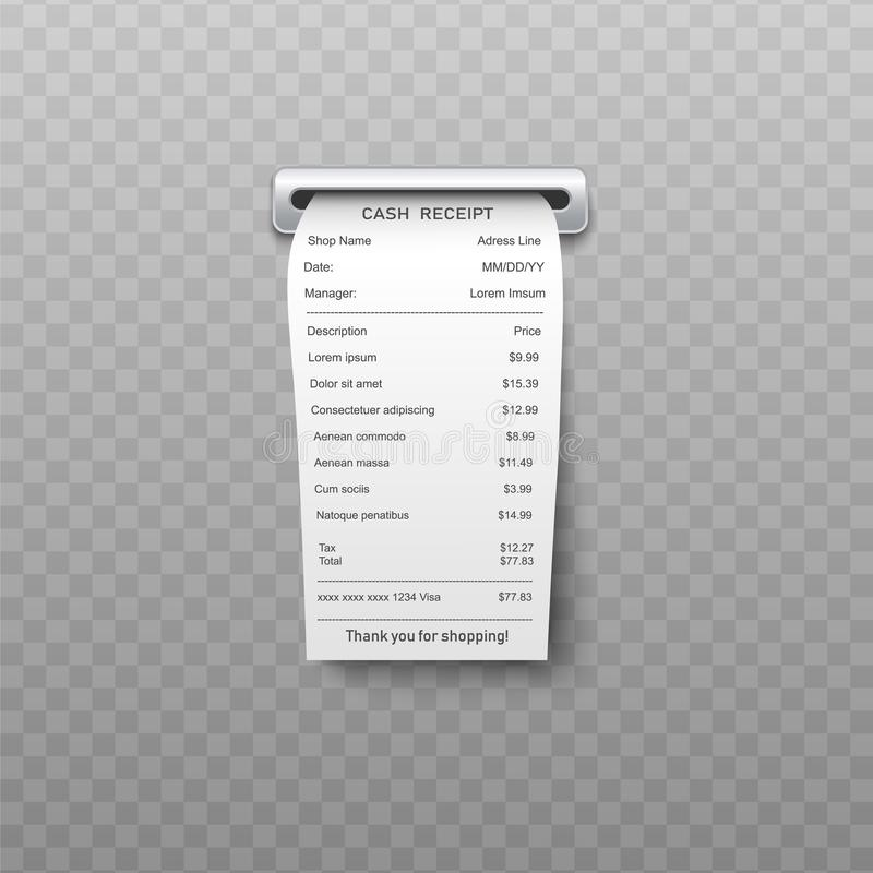 White paper bill or bank atm dispenser invoice going out from slit in realistic vector illustration. vector illustration