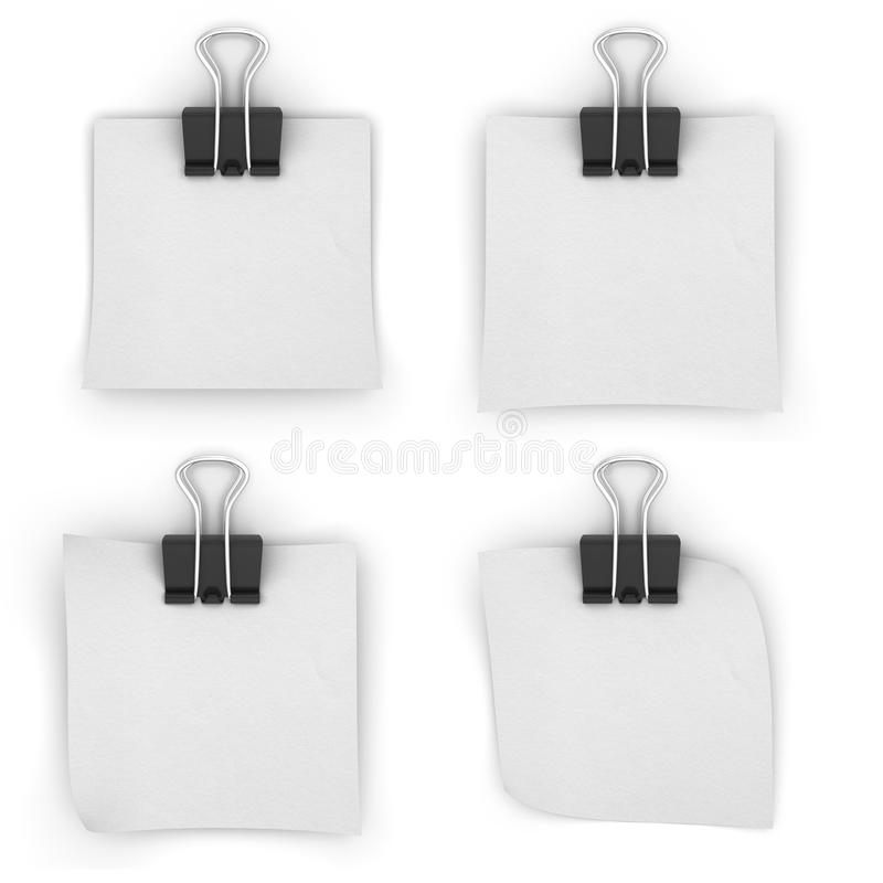 White paper binder clips on a white background. 3d render image royalty free illustration