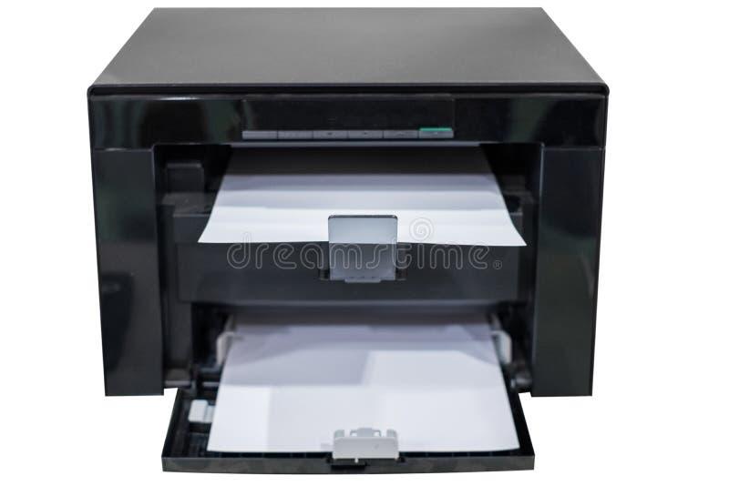 White paper in black laser printer toner. Box royalty free stock photography