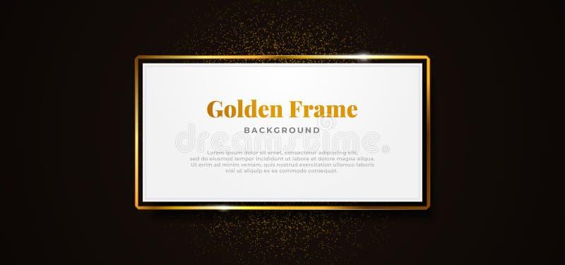 White paper board golden sparkling box frame with gold glitter decoration vector illustration. professional banner template design. Eps 10 vector illustration