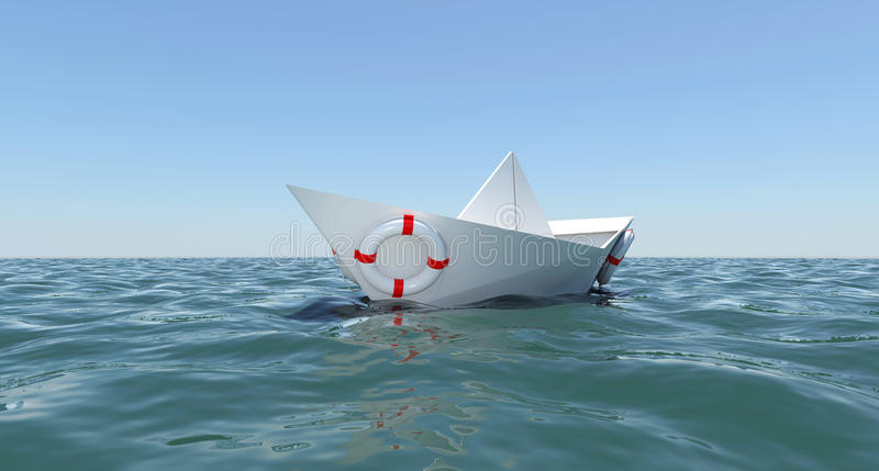 White paper boat floating in the sea water vector illustration