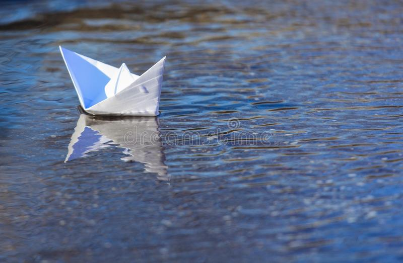 White Paper Boat Sailing royalty free stock photo