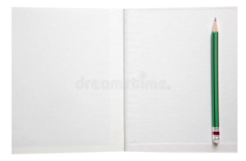 Download White Paper Book Free Space And Green Pencil Stock Image - Image: 27070163