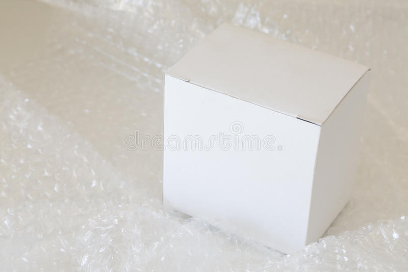 White paper box and air bubble royalty free stock photo