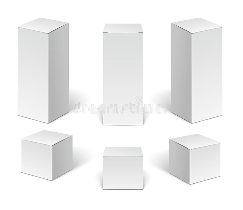 White paper cardboard package boxes. Set of blank vertical cosmetic, medical and electronic devices boxes isolated. On white background stock illustration