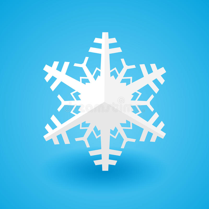 White paper christmas snowflake on a blue background with shadow royalty free illustration