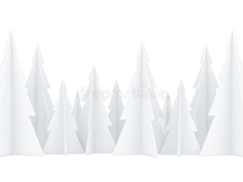White paper Christmas Tree forest on white background for greeting card stock illustration