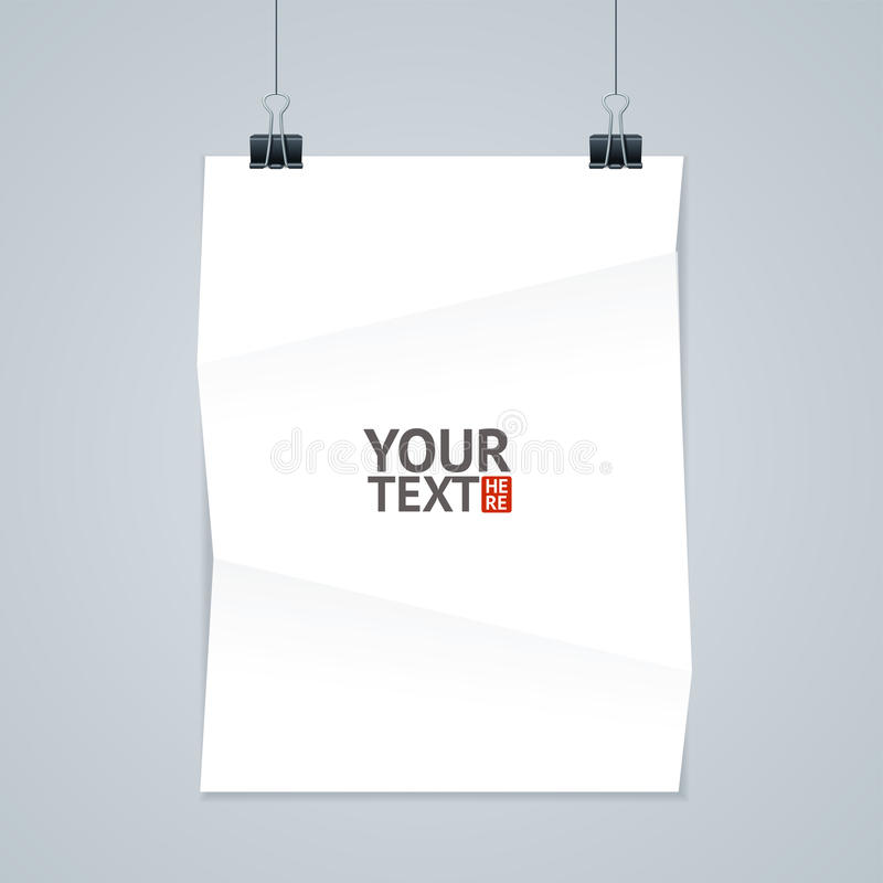 White Paper with Clip. Vector. White Paper with Clip. Place for Text. Vector illustration stock illustration