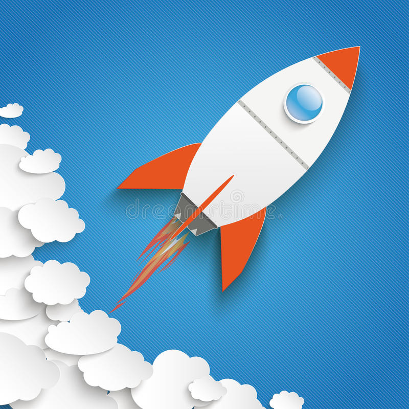 White Paper Clouds Blue Sky Rocket Growth royalty free illustration