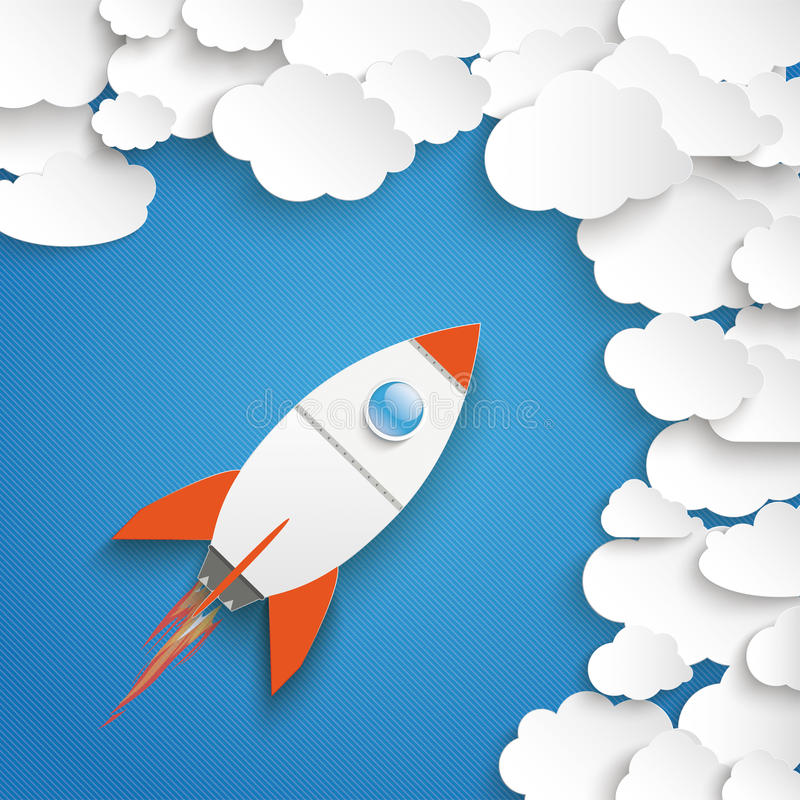 White Paper Clouds With Rocket Blue Sky vector illustration