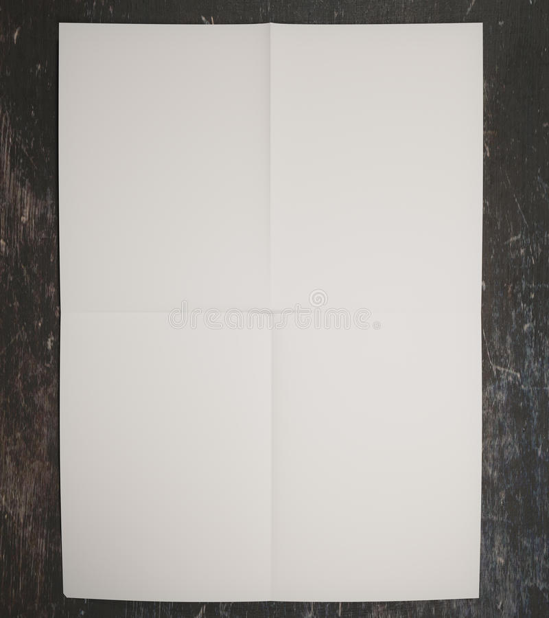 White paper on concrete surface. Close up of white paper on concrete surface. Mock up, 3D Rendering stock illustration