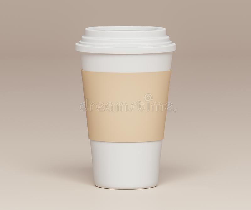 White paper cup on beige background - 3D illustration vector illustration