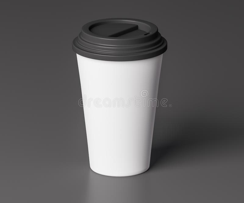 White paper cup with black lid - 3D illustration stock illustration