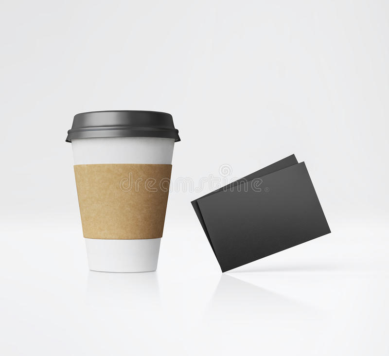 White paper cup and business cards. 3d rendering vector illustration