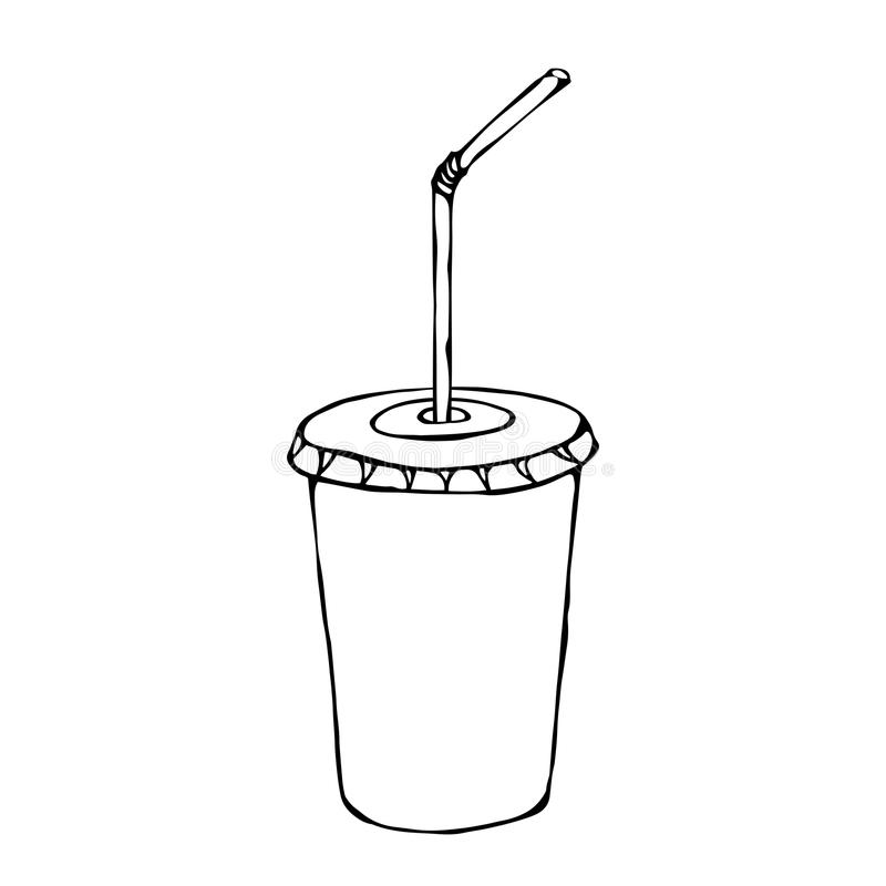 White Paper Cup with Lid and Straw, Glass for Beverage Takeaway. Vector Illustration Isolated On a White Background royalty free illustration