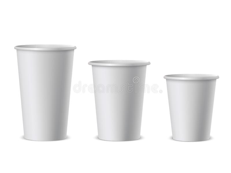 White paper cups realistic vector illustrations set. Takeaway restaurant accessory side view isolated on white background. Empty 3d plastic container for royalty free illustration