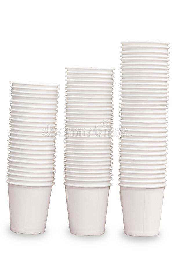 White paper cups stacked royalty free stock photos