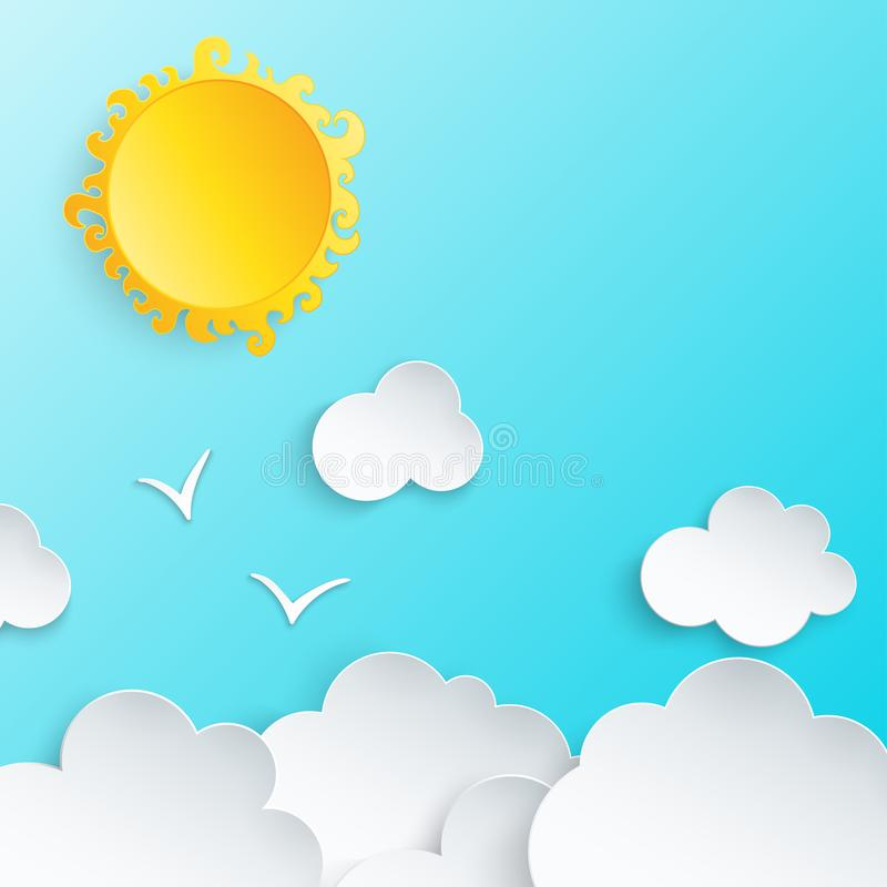 White paper cut clouds, sun and birds stock illustration