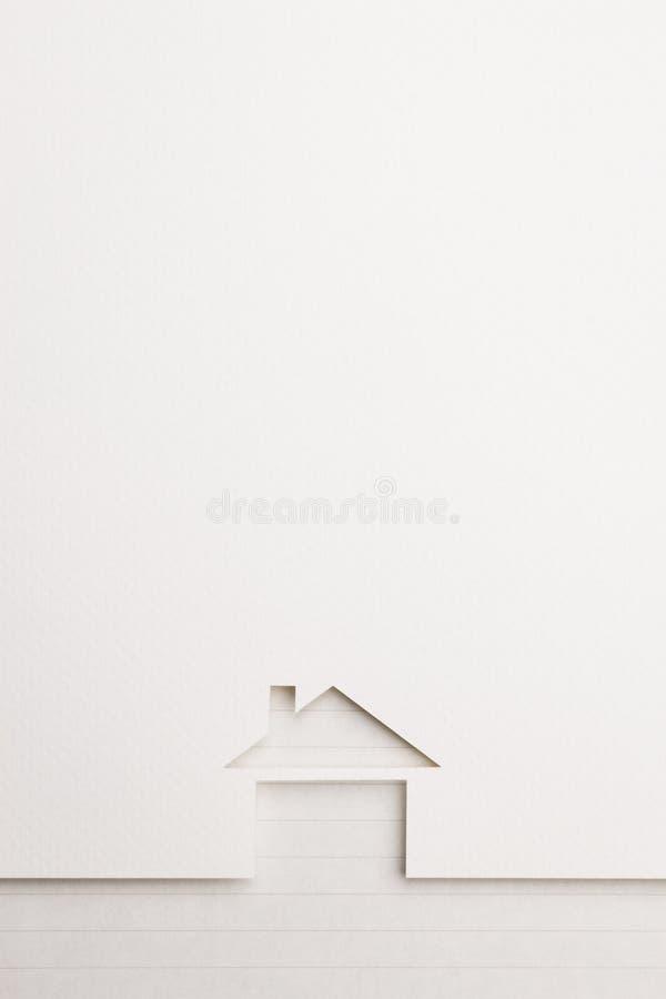 Background of basic house on notepaper border stock image