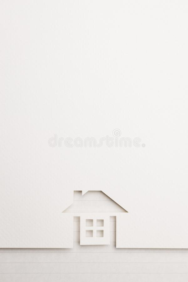 Background of complete house on notepaper border stock photography