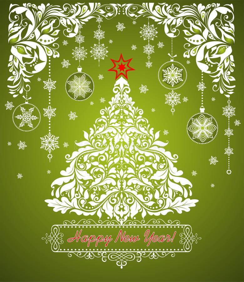 White paper cutting in vintage style with decorative floral border and Christmas tree for winter holidays on green background stock illustration