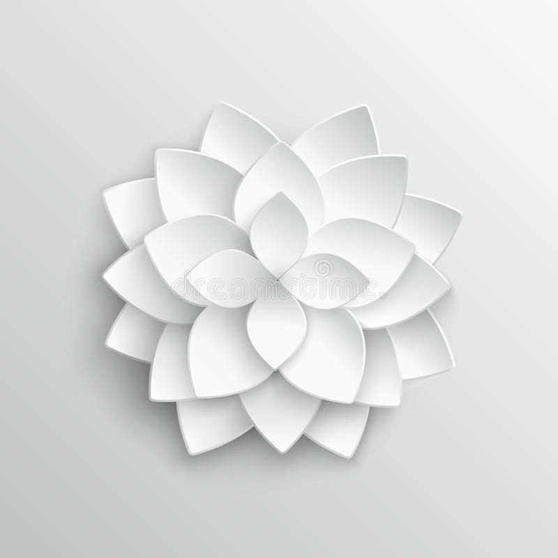 White paper 3d lotus flower in origami style vector illustration stock illustration