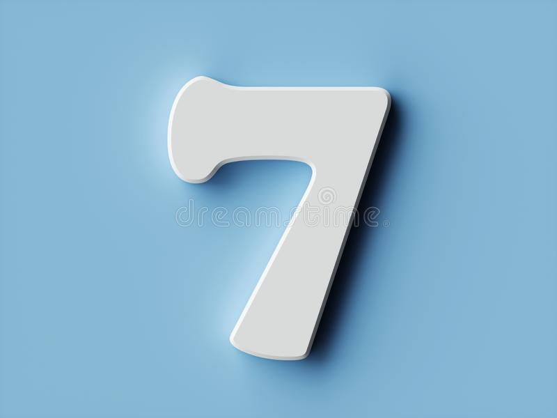 White paper digit alphabet character 7 seven font stock illustration
