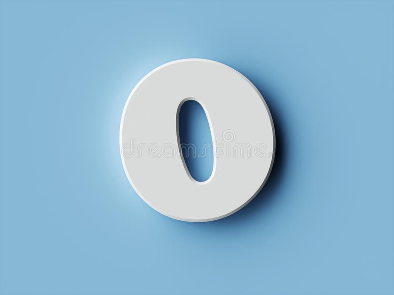 White paper digit alphabet character 0 zero font. Front view null symbol on a blue background. 3d rendering illustration vector illustration