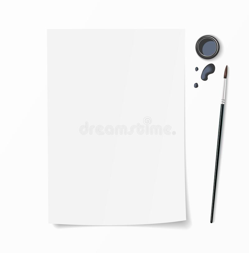 White paper document whith brush pen, inkwell and ink drops on desk. Top view mockup for hand drawn design. White paper document whith brush pen, inkwell and stock illustration