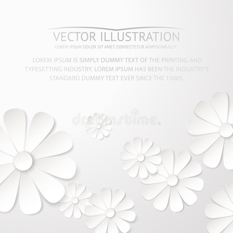 White paper flower postcard. vector illustration