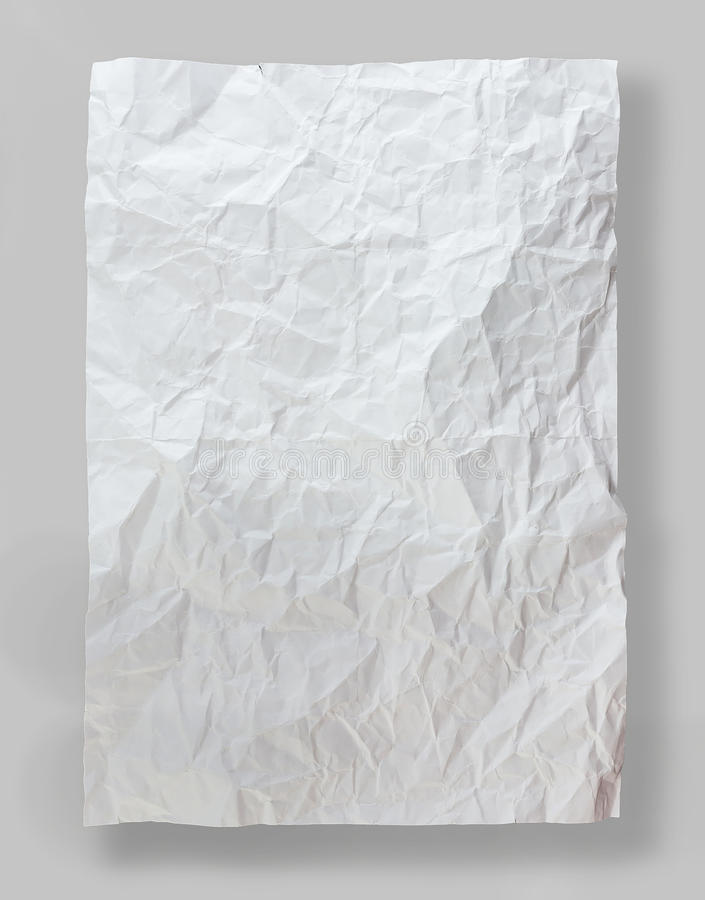 White paper folded and wrinkled stock image