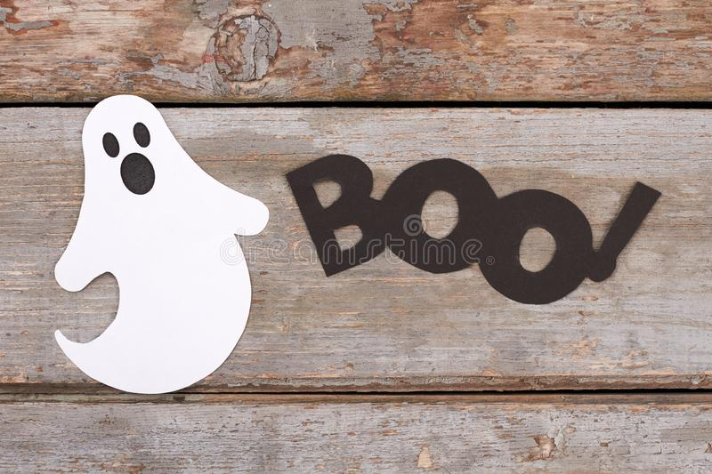 White paper ghost for Halloween holiday. stock photos